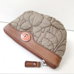 Fossil Bags - FOSSIL KEY-PER Floral Quilted Cosmetic Case-Tan